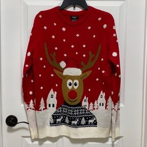 Forever 21 Ugly Christmas Sweater EUC Rudolph sz S